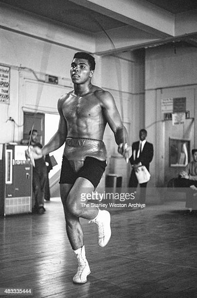 Cassius Clay is jumping rope training at the Main Street Gym for his bout against Archie Moore in October 1962 in Los Angeles California