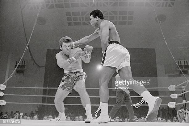 Cassius Clay scores with a vicious right to the head of Jerry Quarry in the third round of their scheduled 15 round bout here. Because of a bad cut...