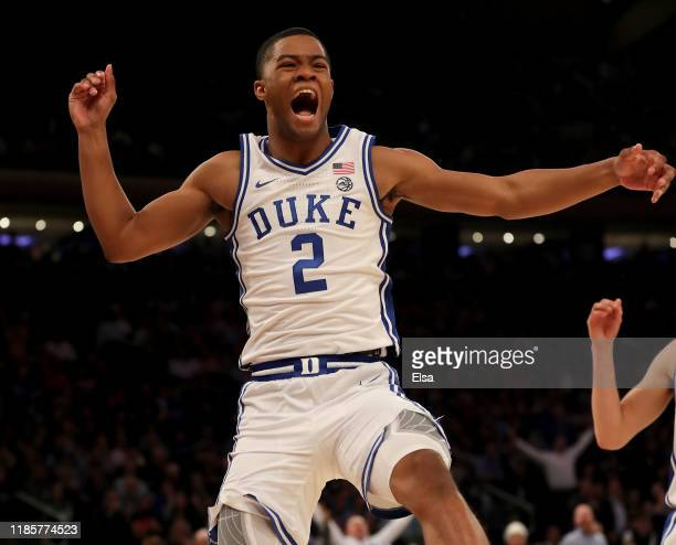 Cassius Stanley of the Duke Blue Devils celebrates his dunk in the second half against the Kansas Jayhawks during the State Farm Champions Classic at...