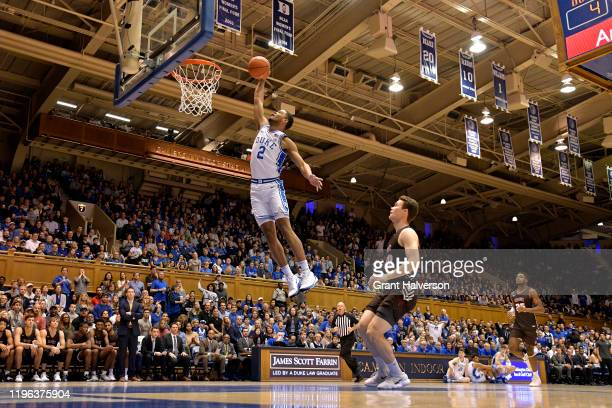 Cassius Stanley of the Duke Blue Devils drives for a dunk against the Brown Bears during the first half of their game at Cameron Indoor Stadium on...