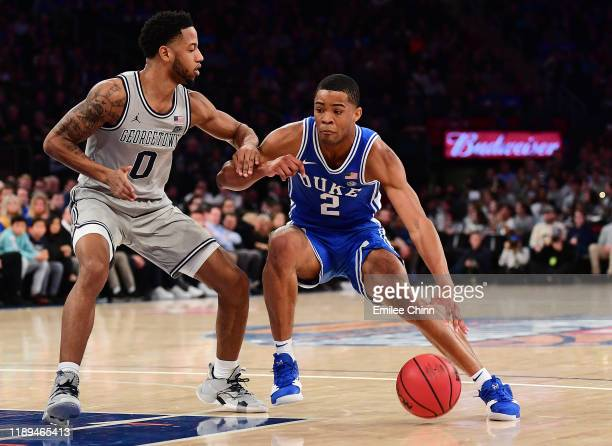 Cassius Stanley of the Duke Blue Devils drives past Jahvon Blair of the Georgetown Hoyas during the second half of their game at Madison Square...