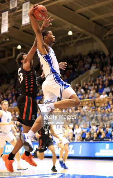 Cassius Stanley of the Duke Blue Devils drives to the basket against Kameron McGusty of the Miami Hurricanes at Cameron Indoor Stadium on January 21...