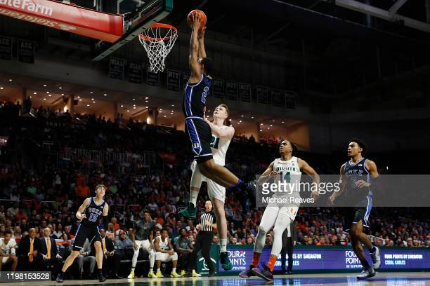 Cassius Stanley of the Duke Blue Devils dunks against the Miami Hurricanes during the first half at the Watsco Center on January 04 2020 in Miami...