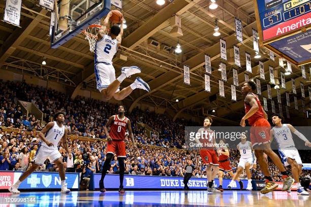 Cassius Stanley of the Duke Blue Devils dunks against the North Carolina State Wolfpack during the second half of their game at Cameron Indoor...
