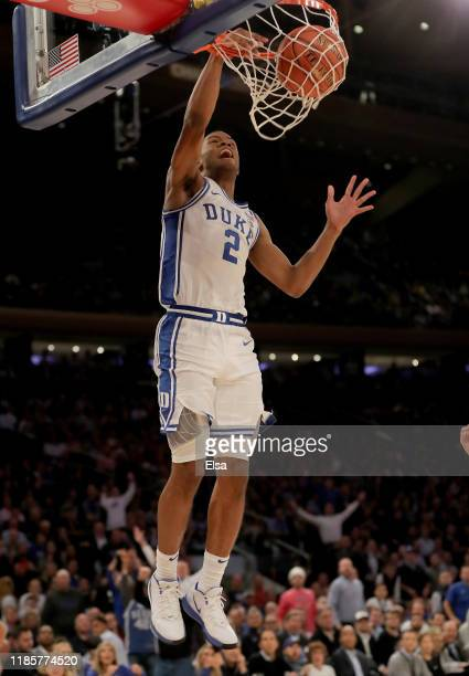 Cassius Stanley of the Duke Blue Devils dunks in the second half against the Kansas Jayhawks during the State Farm Champions Classic at Madison...