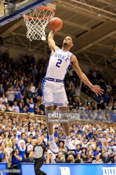 Cassius Stanley of the Duke Blue Devils dunks the ball against the Louisville Cardinals during their game at Cameron Indoor Stadium on January 18...