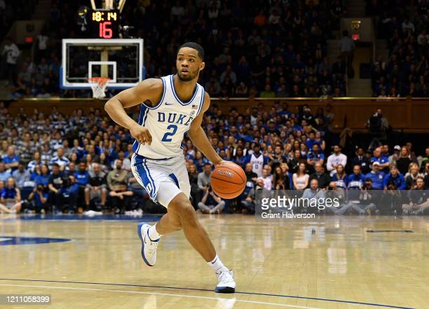 Cassius Stanley of the Duke Blue Devils moves the ball against the North Carolina Tar Heelsduring the second half of their game at Cameron Indoor...