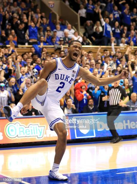 Cassius Stanley of the Duke Blue Devils reacts after a dunk against the Louisville Cardinals during their game at Cameron Indoor Stadium on January...