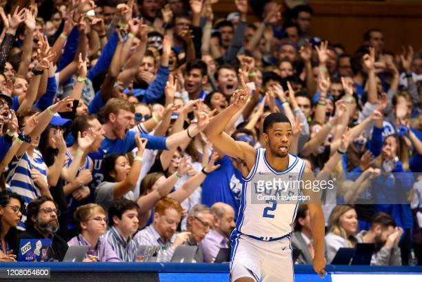 Cassius Stanley of the Duke Blue Devils reacts after making a threepoint basket against the Virginia Tech Hokies during the first half of their game...