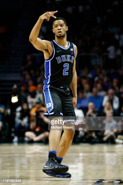 Cassius Stanley of the Duke Blue Devils reacts after making a three pointer against the Miami Hurricanes during the first half at the Watsco Center...