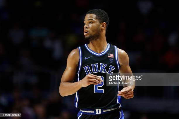 Cassius Stanley of the Duke Blue Devils reacts against the Miami Hurricanes during the first half at the Watsco Center on January 04 2020 in Miami...