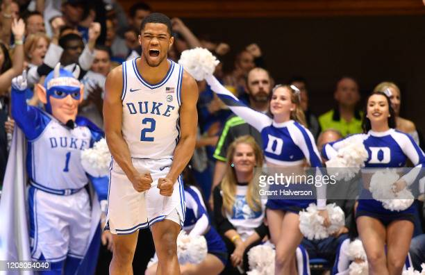 Cassius Stanley of the Duke Blue Devils reacts during the first half of their game against the Virginia Tech Hokies at Cameron Indoor Stadium on...