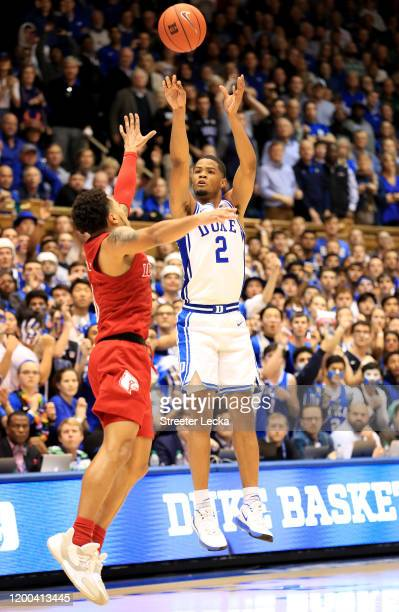 Cassius Stanley of the Duke Blue Devils shoots over the Louisville Cardinals during their game at Cameron Indoor Stadium on January 18 2020 in Durham...
