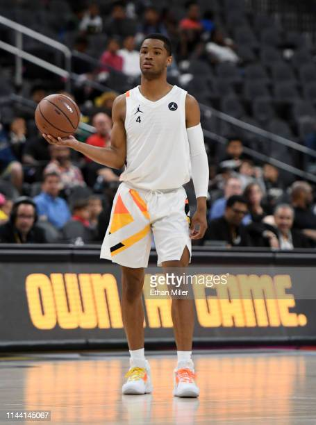 Cassius Stanley sets up a play during the Jordan Brand Classic boys high school allstar basketball game at TMobile Arena on April 20 2019 in Las...