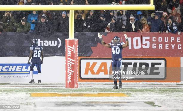 Cassius Vaughn of the Toronto Argonauts celebrates his gamewinning touchdown after running the ball the length of the field against the Calgary...