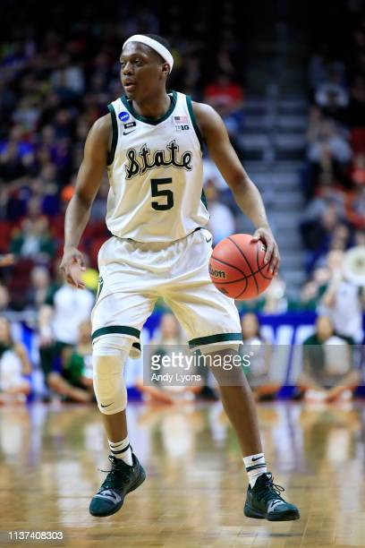 Cassius Winston of the Michigan State Spartans controls the ball against the Bradley Braves during their game in the First Round of the NCAA...