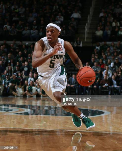 Cassius Winston of the Michigan State Spartans drives to the basket during a game against the Northwestern Wildcats in the first half at Breslin...