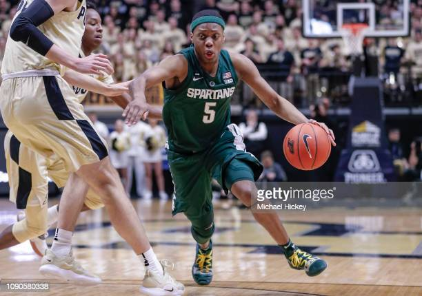 Cassius Winston of the Michigan State Spartans drives to the basket during the game against the Purdue Boilermakers at Mackey Arena on January 27...