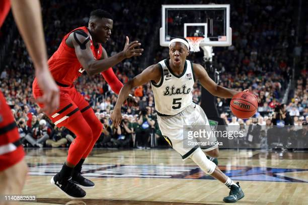Cassius Winston of the Michigan State Spartans drives to the basket during the first half against the Texas Tech Red Raiders during the 2019 NCAA...