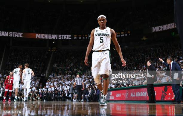 Cassius Winston of the Michigan State Spartans during a game against the Indiana Hoosiers in the second half at Breslin Center on February 2 2019 in...