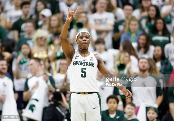 Cassius Winston of the Michigan State Spartans gives instructions to his teammates during a game against the Illinois Fighting Illini at Breslin...