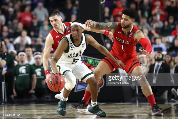 Cassius Winston of the Michigan State Spartans handles the ball in the second half against the Texas Tech Red Raiders during the 2019 NCAA Final Four...