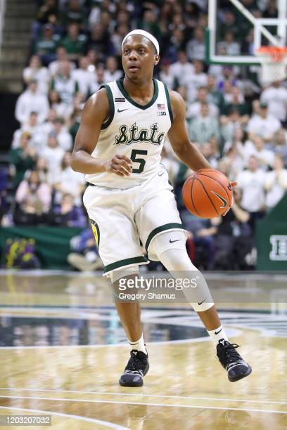 Cassius Winston of the Michigan State Spartans plays against the Northwestern Wildcats at Breslin Center on January 29 2020 in East Lansing Michigan