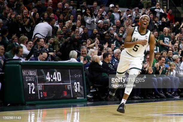 Cassius Winston of the Michigan State Spartans reacts after a second half three point basket while playing the Northwestern Wildcats at the Breslin...