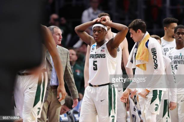 Cassius Winston of the Michigan State Spartans reacts after being defeated by the Syracuse Orange 5553 in the second round of the 2018 NCAA Men's...
