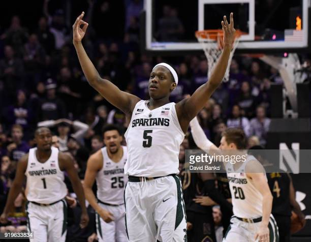 Cassius Winston of the Michigan State Spartans reacts after making a threepoint basket against the Northwestern Wildcats during the second half on...