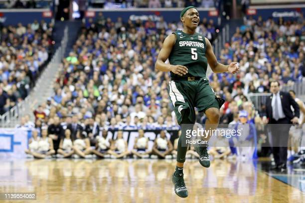 Cassius Winston of the Michigan State Spartans reacts against the Duke Blue Devils during the second half in the East Regional game of the 2019 NCAA...