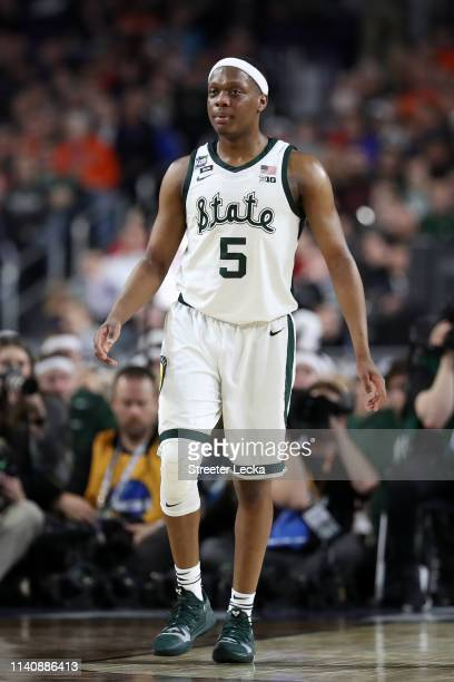 Cassius Winston of the Michigan State Spartans reacts in the first half against the Texas Tech Red Raiders during the 2019 NCAA Final Four semifinal...