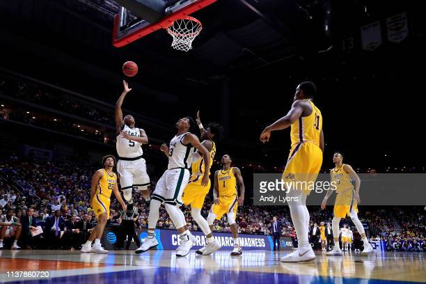 Cassius Winston of the Michigan State Spartans shoots the ball against the Minnesota Golden Gophers during the second half in the second round game...