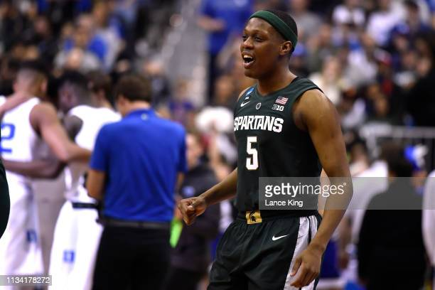 Cassius Winston of the Michigan State Spartans smiles prior to their game against the Duke Blue Devils during the 2019 NCAA Men's Basketball...