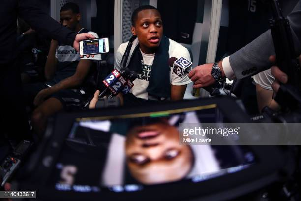 Cassius Winston of the Michigan State Spartans speaks to the media in the locker room prior to the 2019 NCAA Tournament Final Four at US Bank Stadium...