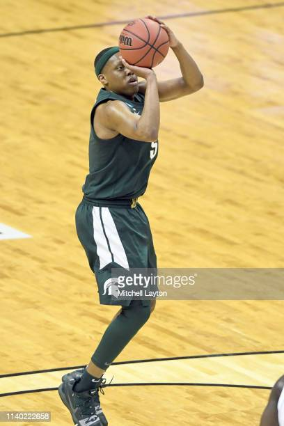 Cassius Winston of the Michigan State Spartans takes a jump shot during the East Regional game of the 2019 NCAA Men's Basketball Tournament against...