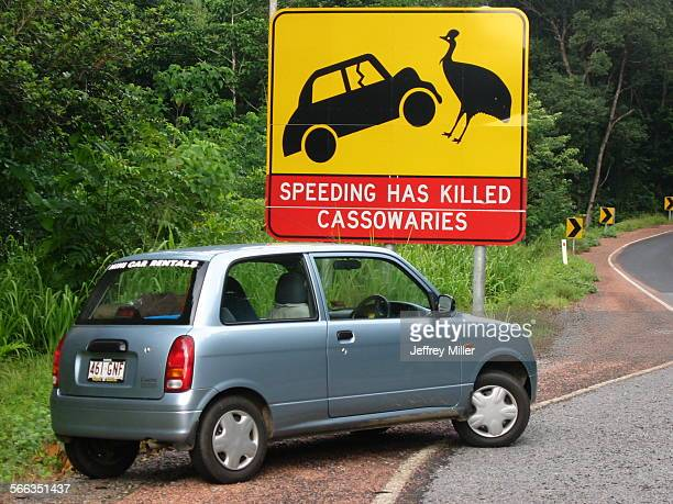 Cassowary Warning Sign and Car Queensland Australia 2004