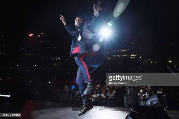 Cassper Nyovest performs during the Global Citizen Festival Mandela 100 at FNB Stadium on December 2 2018 in Johannesburg South Africa