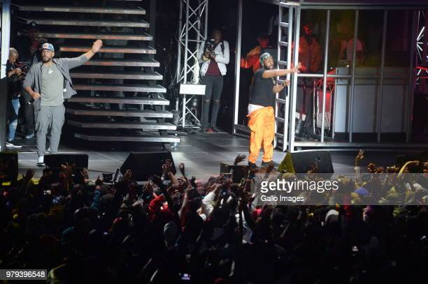 Cassper Nyovest performs with USA star Dj Drama during the June 16 Youth Day Celebration concert at Time Square Sun Arena on June 16 2018 in Pretoria...