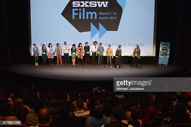 Cast and crew and Suzanne Weinert of Flatiron Pictures take part in a QA following the We'll Never Have Paris premiere during the 2014 SXSW Music...