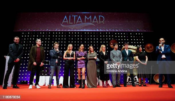 Cast and crew attend Alta Mar second season preview by Netflix at Noia Festival at the hometown of its creator Ramon Campos on November 8 2019 in...