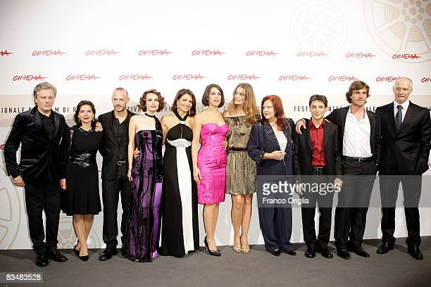 Cast and crew attend the 'Amoure Che Vieni Amore Che Vai' Premiere during the 3rd Rome International Film Festival held at the Auditorium Parco della...
