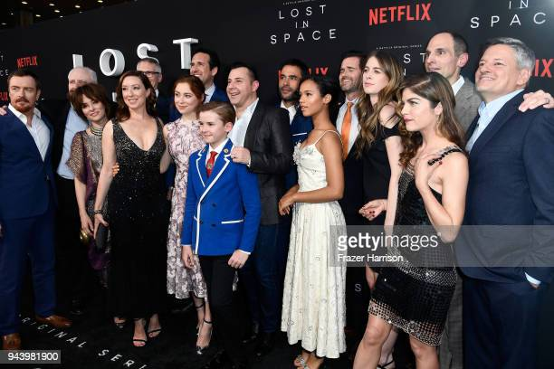 Cast and crew attend the premiere of Netflix's 'Lost In Space' Season 1 at The Cinerama Dome on April 9 2018 in Los Angeles California