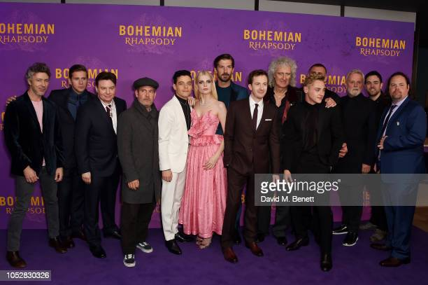 Cast and Crew attend the World Premiere of 'Bohemian Rhapsody' at The SSE Arena Wembley on October 23 2018 in London England