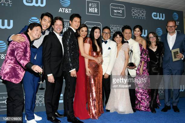 Cast and crew for 'Crazy Rich Asians' winners of Best Comedy Movie pose in the press room during the 24th annual Critics' Choice Awards at Barker...