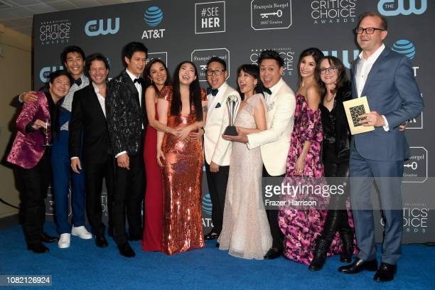 Cast and crew for 'Crazy Rich Asians,' winners of Best Comedy Movie, pose in the press room during the 24th annual Critics' Choice Awards at Barker...