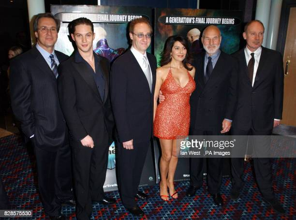 Cast and Crew for Star Trek Nemesis Producer Rick Berman Tom Hardy Brent Spiner Marina Sertis Patrick Stewart and Director Stuart Baird arrive for...
