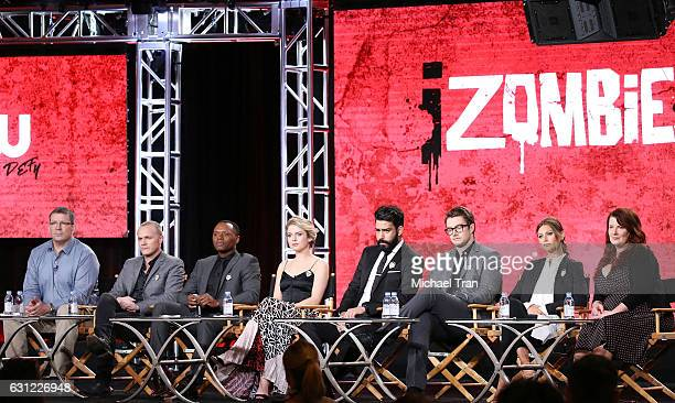 Cast and crew for the 'iZombie' television show speak onstage during the 2017 Winter TCA Tour Panels CW held at The Langham Huntington Hotel and Spa...