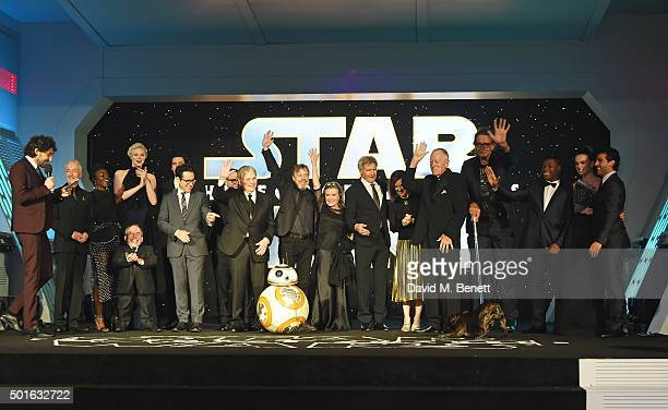 Cast and crew including Anthony Daniels Lupita Nyong'o Warwick Davis Gwendoline Christie JJ Abrams Lawrence Kasdan Mark Hamill Carrie Fisher Harrison...