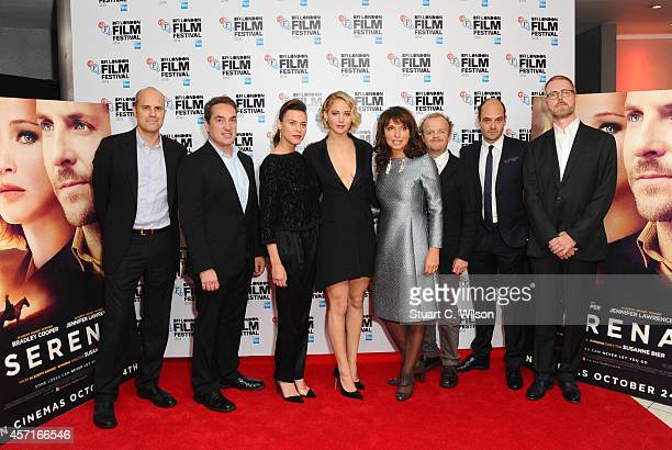 Cast and crew including Ben Cosgrove David Dencik Ana Ularu Jennifer Lawrence Susanne Bier Toby Jones and Christopher Kyle attend the premiere for...